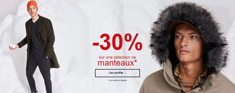 Promo manteaux Celio : 30% de réduction