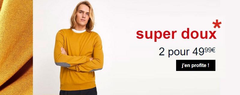 Promo pulls super doux Celio : 2 pour 49,99 €